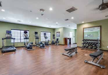 Fitness center with free weights, a treadmill, and elliptical machines at Piney Shores Resort in Conroe, Texas