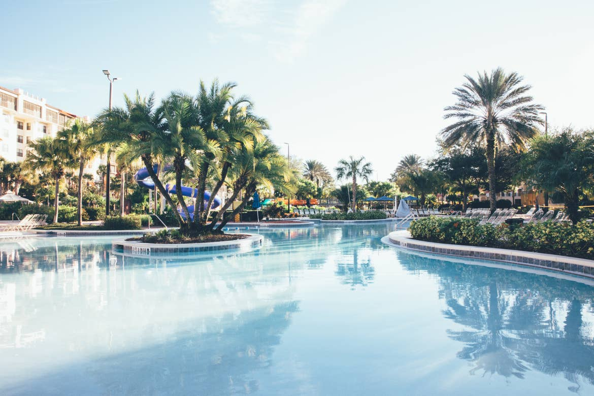 Pool surrounded by palm trees in River Island at Orange Lake Resort near Orlando, Florida