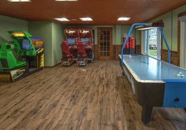 Arcade with air hockey at Mount Ascutney Resort in Brownsville, Vermont.