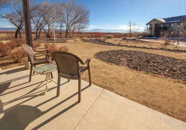 Outdoor patio area in a two-bedroom villa at David Walley's Resort in Genoa, Nevada