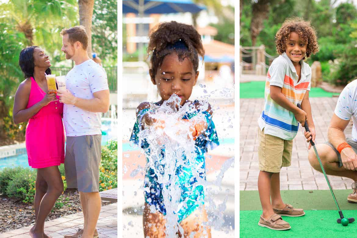Left: Sally Butan (left) and her husband enjoy some beverages at a table near the lazy river.Middle: Alissa wears a swimsuit near a fountain of water at our Splash Pad.Right: Alexander plays mini golf outdoors.
