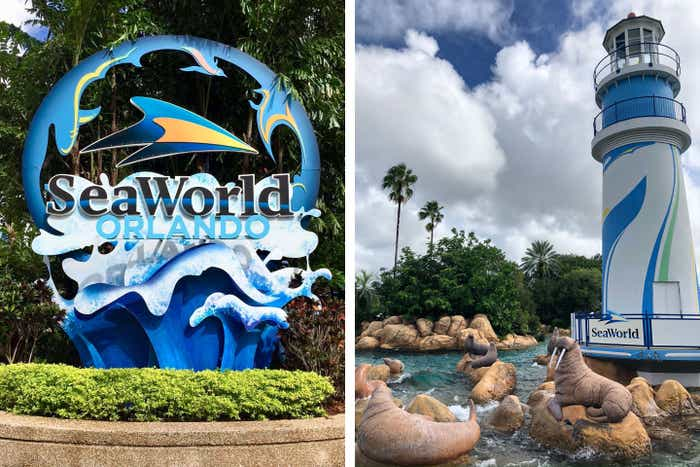 Left: SeaWorld Orlando sign. Right: SeaWorld Orlando Lighthouse and Walrus.