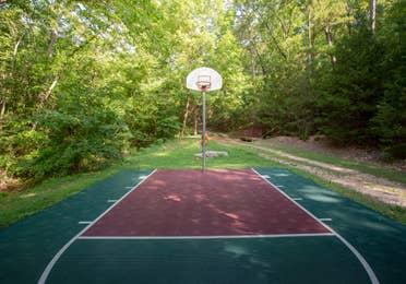 Outdoor basketball court at Ozark Mountain Resort in Kimberling City, Missouri.