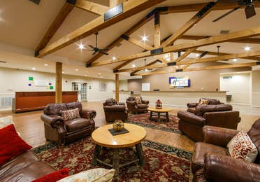 Lobby sitting area at the Holiday Hills Resort in Branson, Missouri.