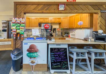 Ozark Mountain Grille with ice cream cooler and board with daily specials at Ozark Mountain Resort in Kimberling City, MO.