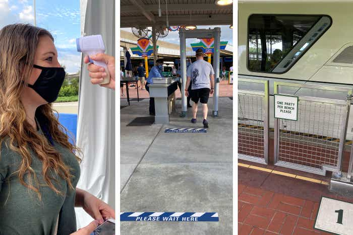 Left: Guest gets temperature check by Cast Member prior to entry for guest safety.Center: Security checkpoint with metal detector and safety tape to enforce social distance.Right: Safety sign on the Monorail to enforce social distance.