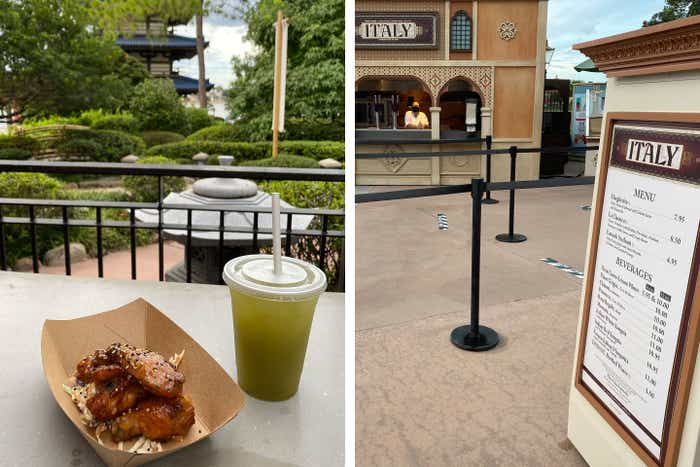 Left: Yuzu-Miso Wings and Green Tea served from the Japan Pavilion festival cart. Right: Italy's Pavilion festival cart and menu.