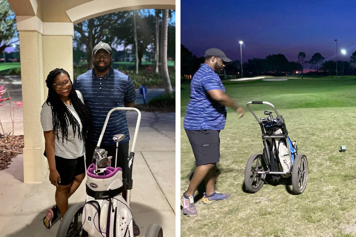 Left: Krystin Godfrey (left) and her husband (right) pose next to a white golf club bag on a carrier at our Orange Lake resort located in Orlando, FL. Right: Krystin's husband steps onto the green as he prepares to golf.