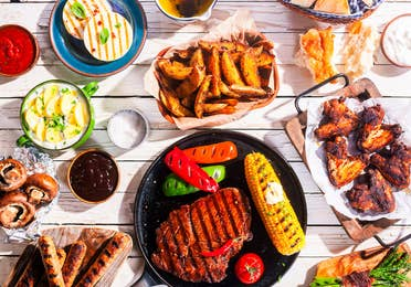 BBQ food on a picnic table