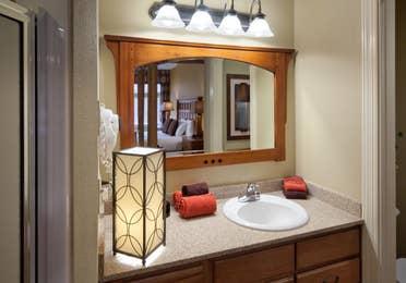 Bathroom in a villa at Smoky Mountain Resort in Gatlinburg, Tennessee.