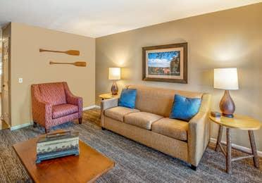 Living room in a one bedroom villa at Oak n' Spruce Resort in South Lee, Massachusetts