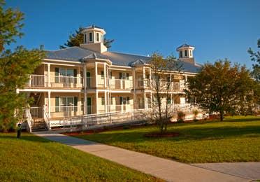 One of the resort villa buildings at Oak n' Spruce  Resort in South Lee, Massachusetts
