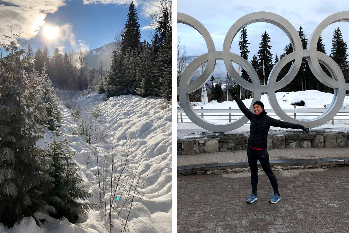 Left: Snow-capped mountain range of Whistler Mountain Range, Canada under blue skies and sunshine. Right: Co-contributor, Sarah Conroy, poses in front of the silver Olympic Rings statue wearing a black winter jacket and apparel.
