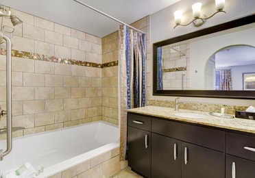 Bathroom in a two-bedroom villa at Desert Club Resort in Las Vegas