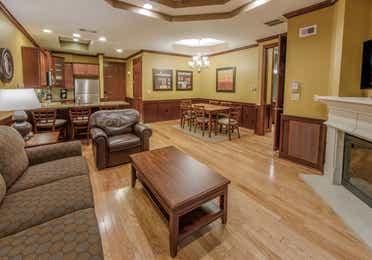 Living room in a three-bedroom ambassador villa at Galveston Seaside Resort