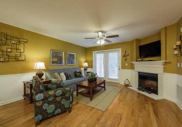 Living room in a three-bedroom ambassador villa at the Holiday Hills Resort in Branson Missouri.