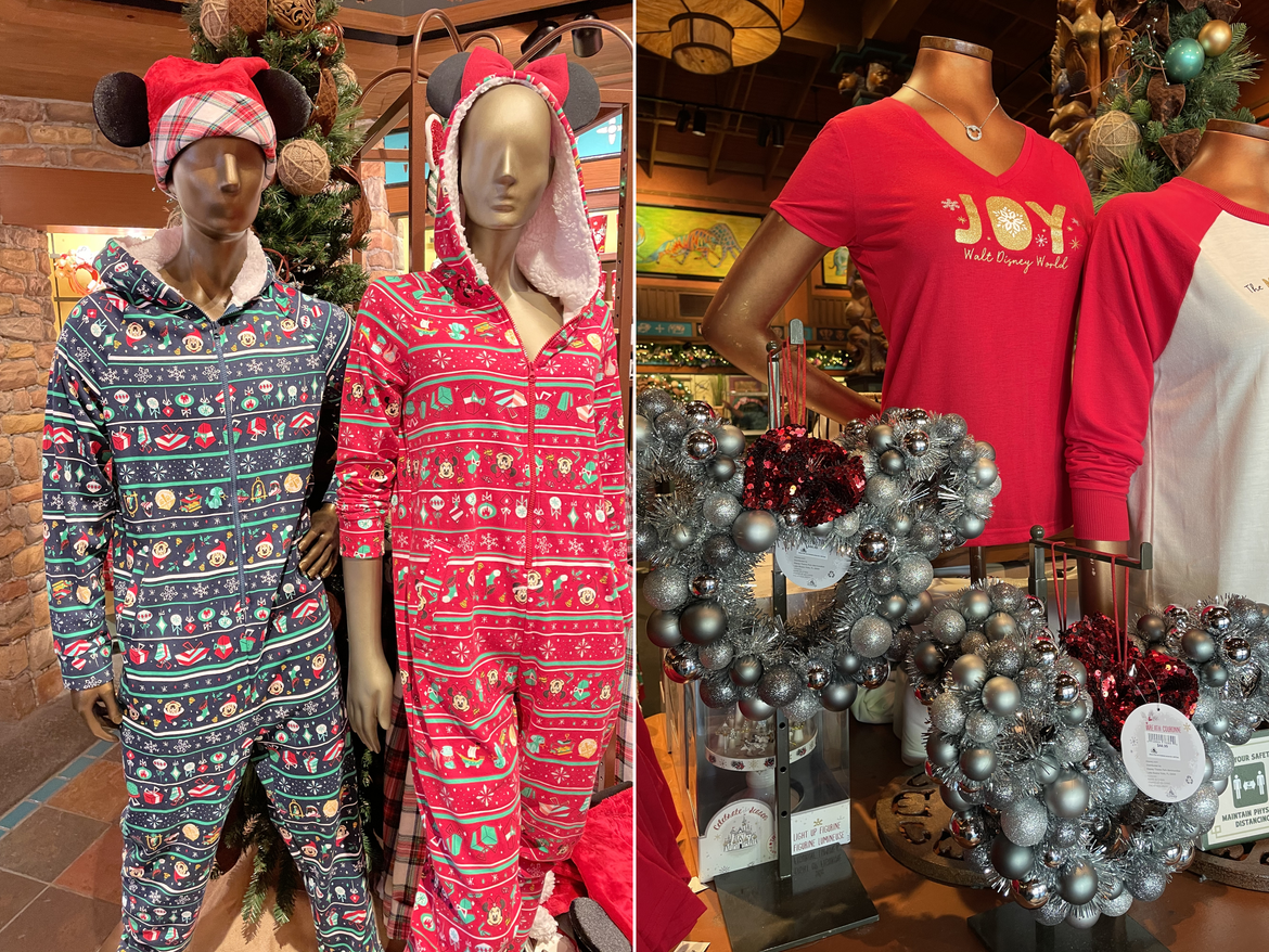 Left: Mickey and Friends Festive onesies at Disney's Animal Kingdom Theme Park at Walt Disney World® Resort. Right: Silver Mickey Icon wreaths and festive apparel at Disney's Animal Kingdom Theme Park at Walt Disney World® Resort.