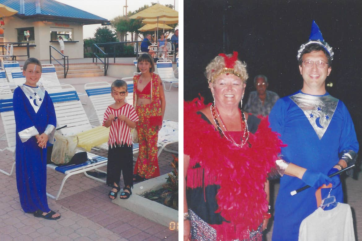 Left: Two caucasian boys (left, middle) and a girl (right) wear Halloween costumes on the pool deck as they get ready to trick-or-treat.