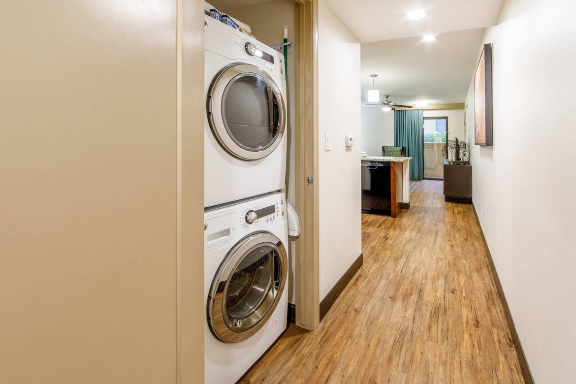 In-unit washer and dryer in a one-bedroom villa at Scottsdale Resort