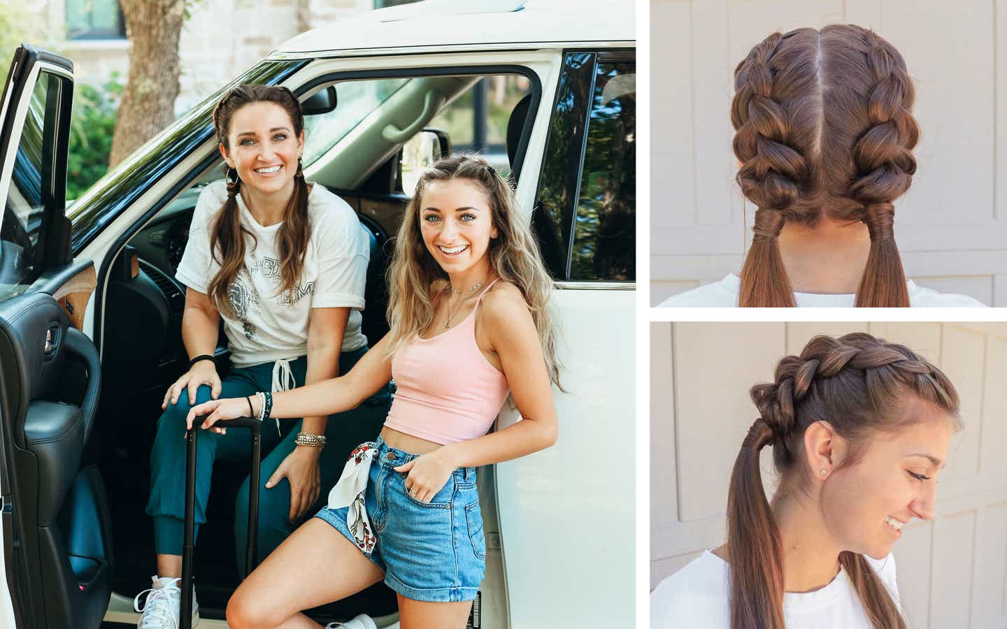 Left: Mindy and Kamri pose near their SUV with a pink suitcase in tow. Top-Right: Kamri sporting the dutch-braid hairstyle. Bottom-right: Kamri sporting the dutch-braid hairstyle from a profile.