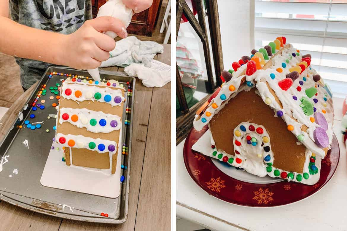 Left: A gingerbread house is being constructed by a pair of hands holding a frosting sleeve. Right: A completed gingerbread house sits on a table.