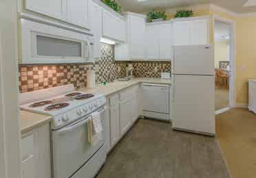 Kitchen in a one-bedroom villa at Apple Mountain Resort