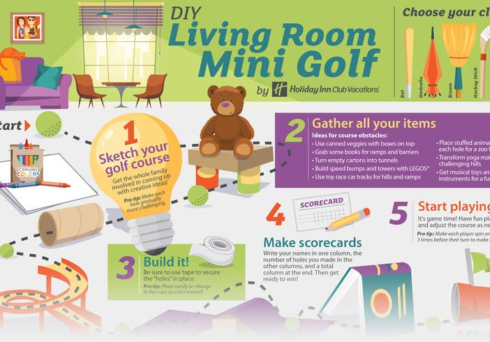 Steps on how to make your own mini golf course in your living room