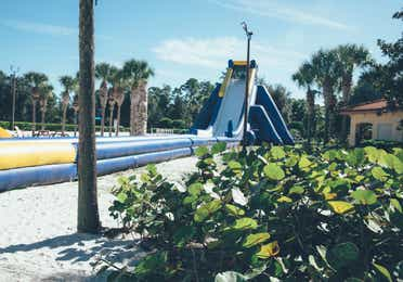 Inflatable slide in River Island at Orange Lake Resort near Orlando, Florida