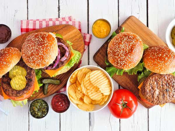 Hamburgers on a picnic table