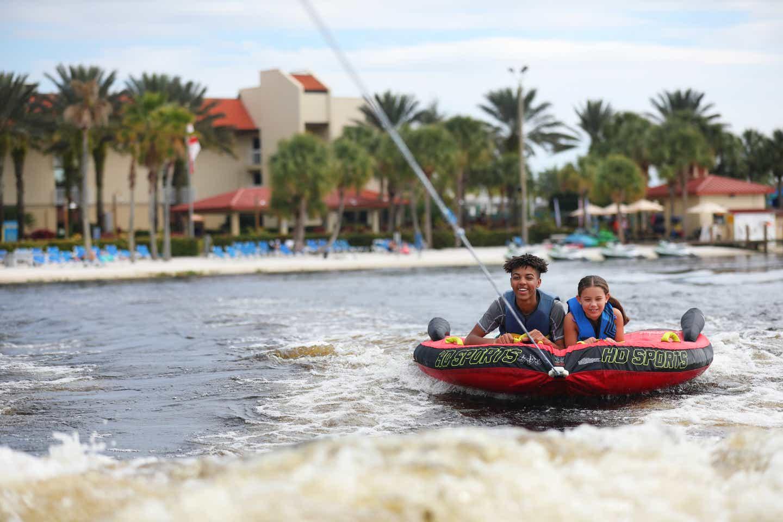 Clarissa Laskey's kids tubing on the lake at Orange Lake Resort