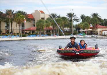 Clarissa Laskey's kids tubing on the lake at Orange Lake Resort