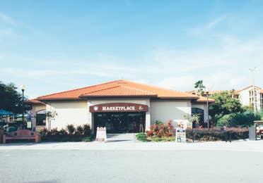 Outside view of Marketplace in West Village at Orange Lake Resort near Orlando, Florida