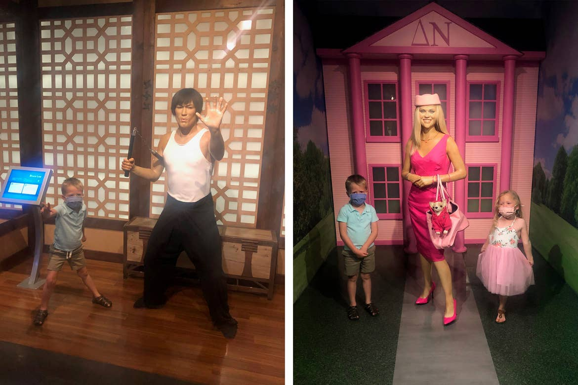 Left: Brianna's son makes a karate pose alongside a wax figure of Bruce Lee at the Hollywood Wax Museum in Myrtle Beach, SC. Right: Brianna's children pose with a wax figure of Reese Witherspoon as Elle Woods.