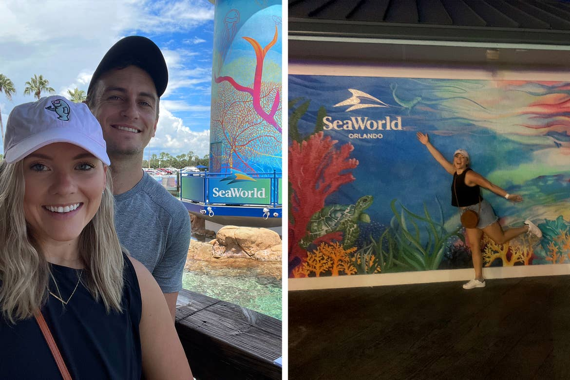 Left: A Caucasian male wearing a grey t-shirt, black cap (right) and a Caucasian female wearing a pink baseball cap and black tank top stand near the lighthouse in SeaWorld Orlando. Right: A woman poses with a wall mural of a coral reef.
