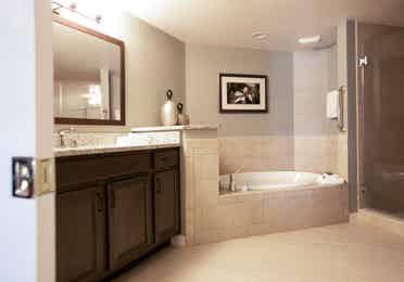 Bathroom with soaking tub in a villa in North Village at Orange Lake Resort near Orlando, Florida