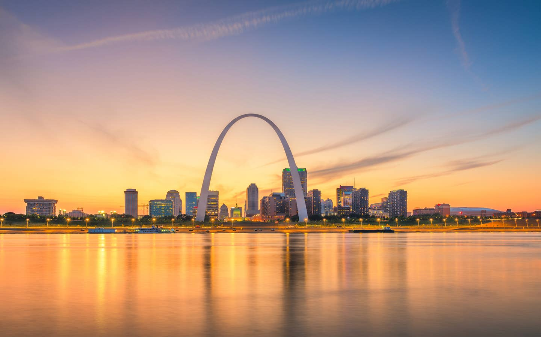 View of St Louis near Timber Creek Resort in De Soto, Missouri.