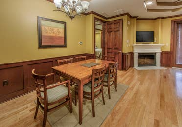 Dining room in a three-bedroom ambassador villa at Galveston Seaside Resort