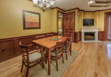 Dining room in a three-bedroom ambassador villa at Galveston Seaside Resort