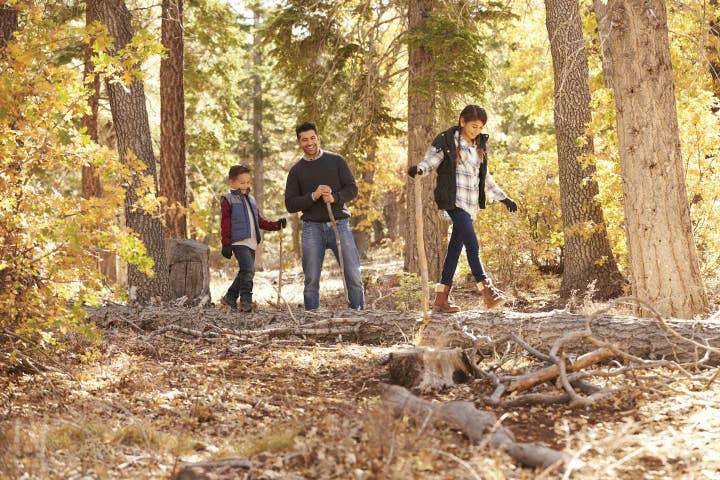 Family hiking near Holiday Hills Resort in Branson, Missouri.