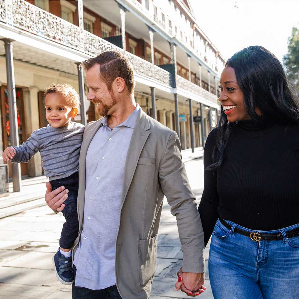Sally Butan (right) of @butanclan and her family walk the streets of New Orleans.