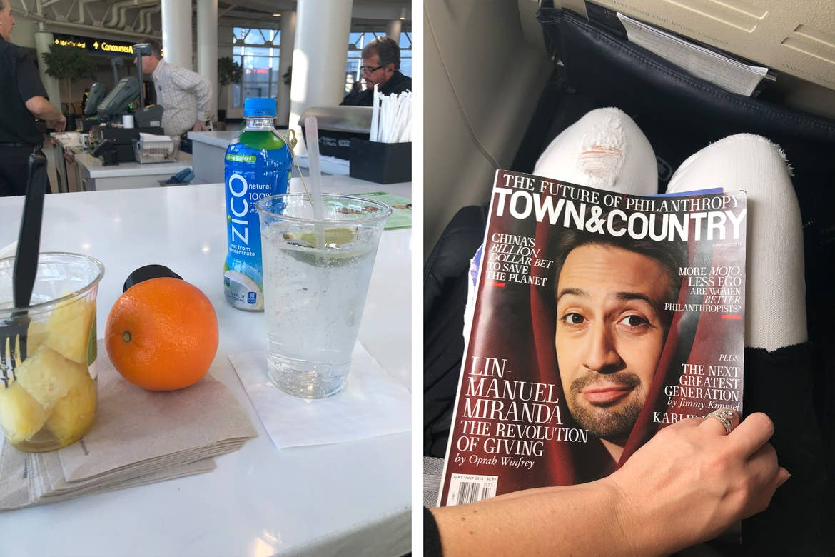Left: Various healthy snacks of pineapple chunks, tangerine, and iced Zico coconut water are placed on a terminal restaurant countertop. Right: A magazine titled, 'Town & Country' features Lin Manuel Miranda's headshot and is placed on a woman's lap in an airplane seat.