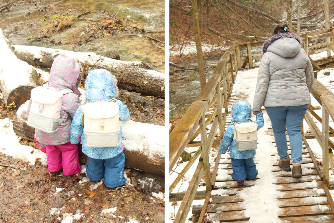 Left: Featured Contributor, Karishma Kittur's daughters wear wintercoats and backpacks outdoors. Right: Karishma holds her daughters hand as they walk on a bridge.