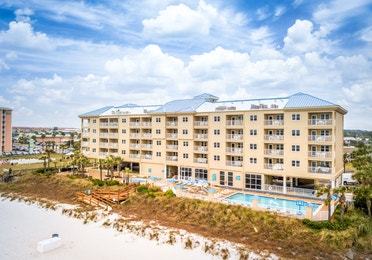 View of property building and ocean at Panama City Beach Resort