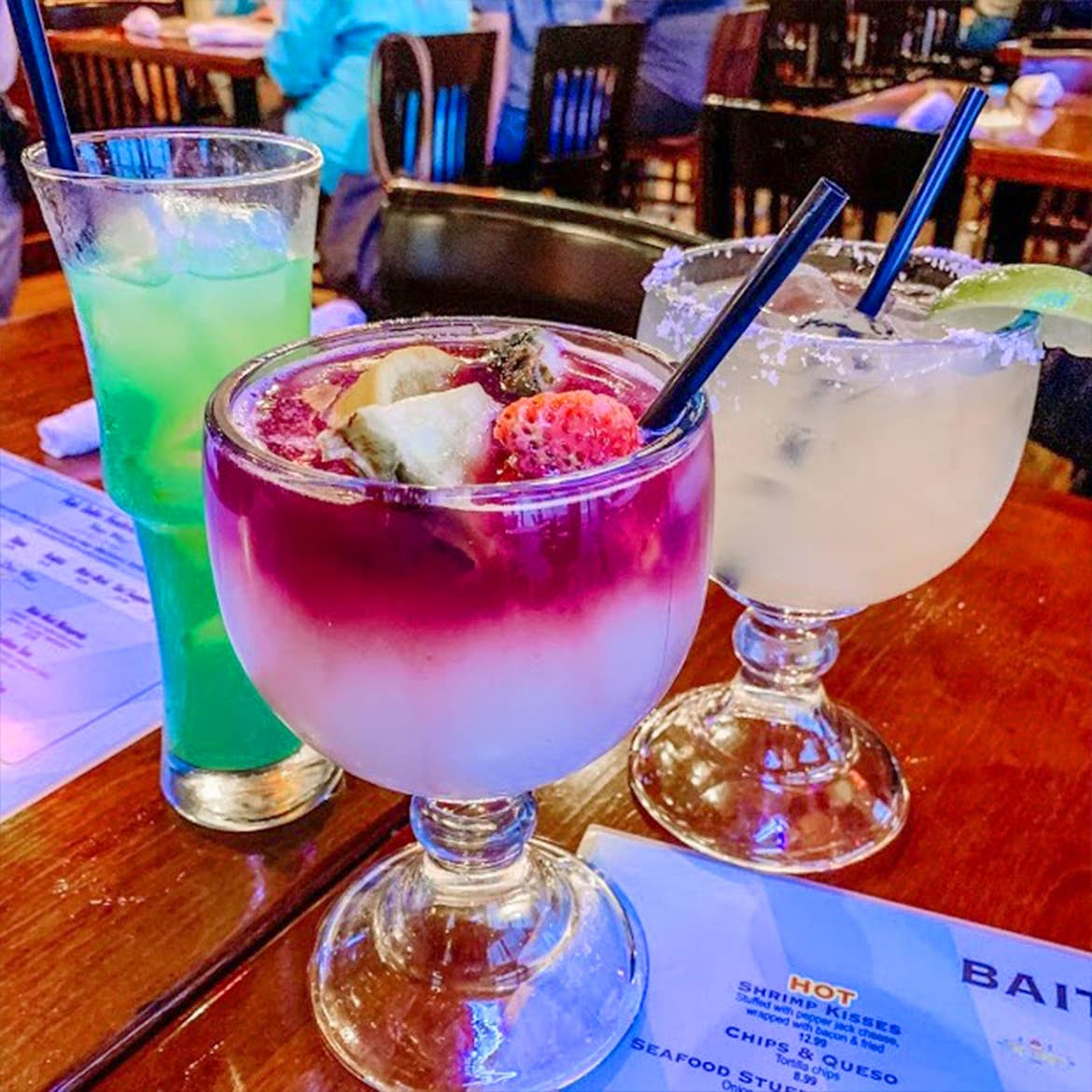 Three cocktails from Fish Tales in Galveston, Tx.