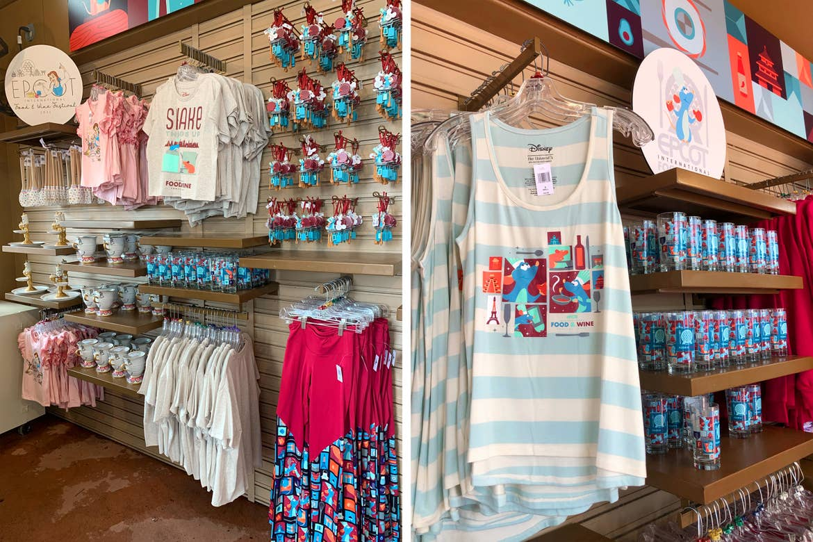 Left: Various kitchen utensils and clothing apparel has Beauty & the Beast themes near Remy's Shake it Up collection apparel. Right: near Remy's Shake it Up collection apparel and drinking glasses.