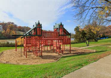 Outdoor children's playground at Fox River Resort in Sheridan, Illinois