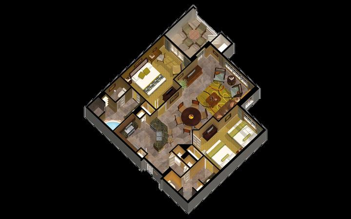 Signature Collection River Island two-bedroom villa floor plan