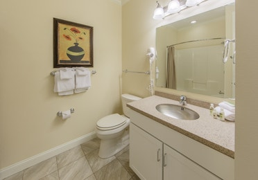 Bathroom with sink with mirror and toilet in a presidential villa at Fox River Resort in Sheridan, Illinois