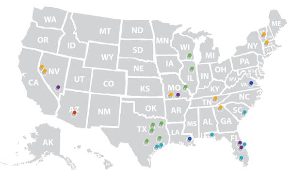 Map of the United States with pins representing resort locations.