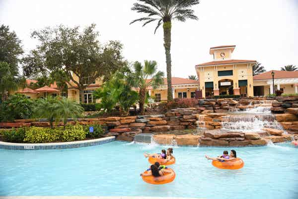 Guests floating down lazy river at Orange Lake Resort near Orlando, Florida